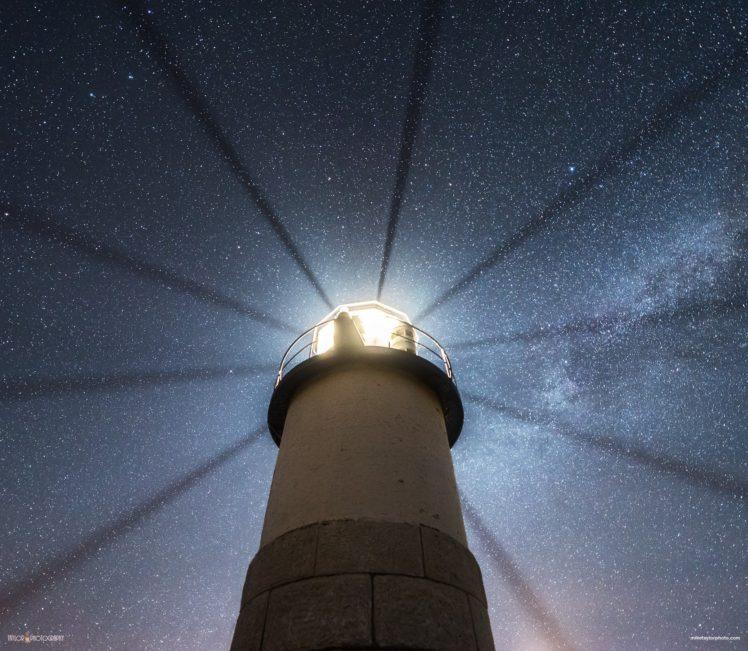stars, Lighthouse, Space, Night HD Wallpaper Desktop Background