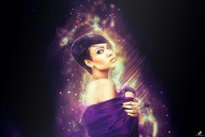 women, Photo manipulation, Universe, Lights