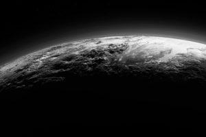 Pluto, Space, Planet, Monochrome
