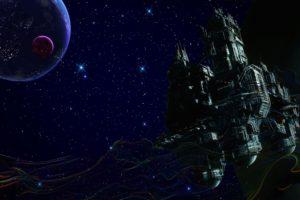 space, Trippy, Smoke, Stars, Spaceship