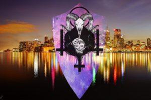 demon, Toronto, Lights, Cross, Skull, Space, Reflections