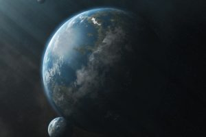 space, Planet, Sun rays, CG render