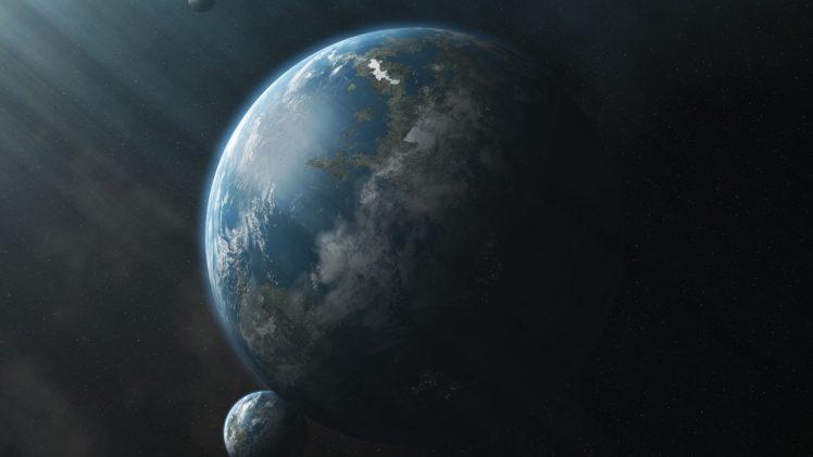space, Planet, Sun rays, CG render HD Wallpaper Desktop Background