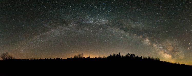 galaxy, Stars, Space, Canada, Night, Milky Way, Panorama, Lake Airstrip, Lake, Ontario HD Wallpaper Desktop Background