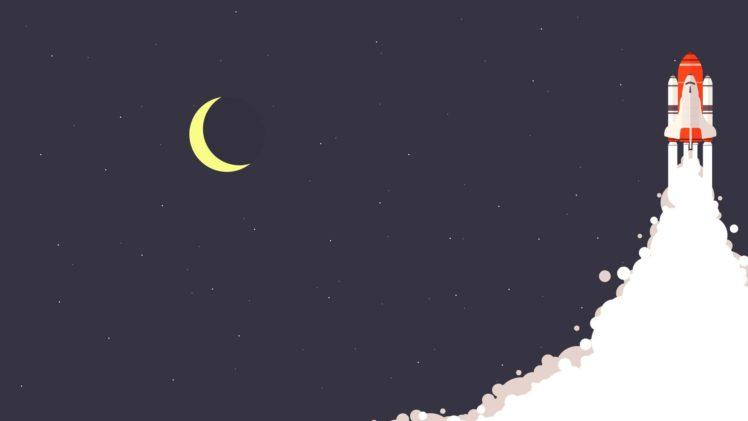 rocket, Moon, Space, Stars, Universe, Minimalism, Night HD Wallpaper Desktop Background