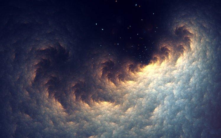 fractal, Abstract, Stars, Space, Digital art, Space art HD Wallpaper Desktop Background