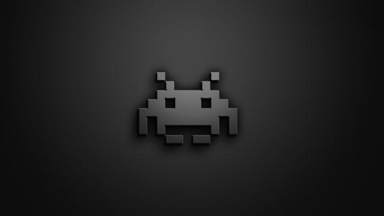 Space Invaders, Retro games, Video games, Monochrome, Simple background, Digital art HD Wallpaper Desktop Background