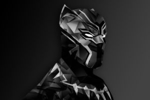 Black Panther, Captain America: Civil War, Low poly, Digital art, Marvel Cinematic Universe, Monochrome, Simple background