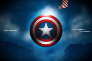Captain America, Typography, Flag, Marvel Cinematic Universe, Shield, Digital art