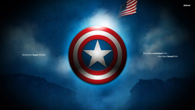 Captain America, Typography, Flag, Marvel Cinematic Universe, Shield, Digital art HD