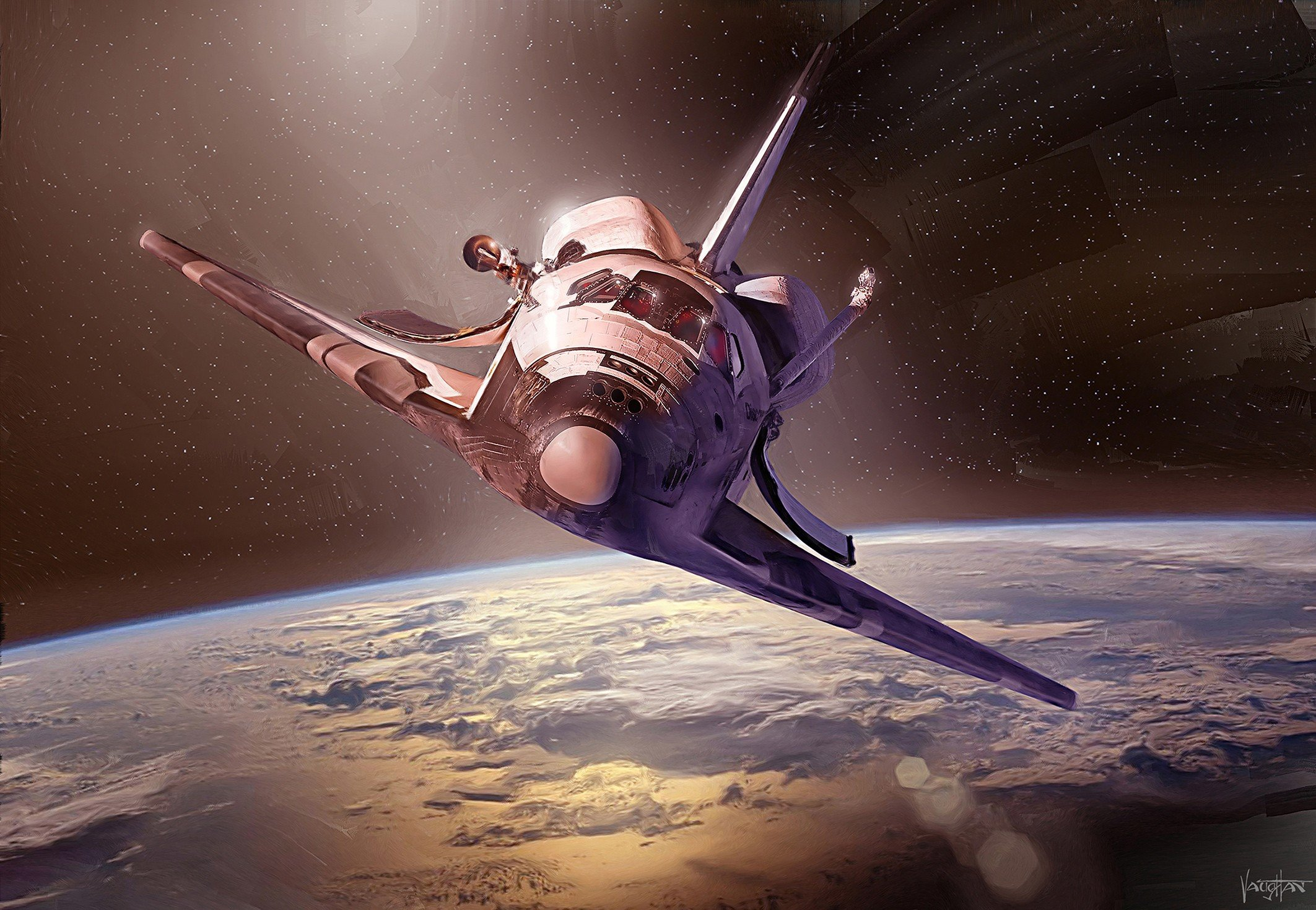 artwork, Space shuttle, Space, Digital art, Space art Wallpaper