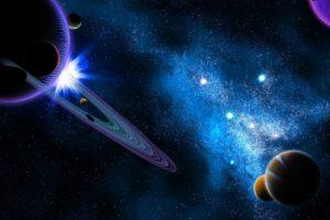 digital art, Space art, Space, Universe, Stars, Planet, Sun, Glowing, Planetary rings, Galaxy, Nebula