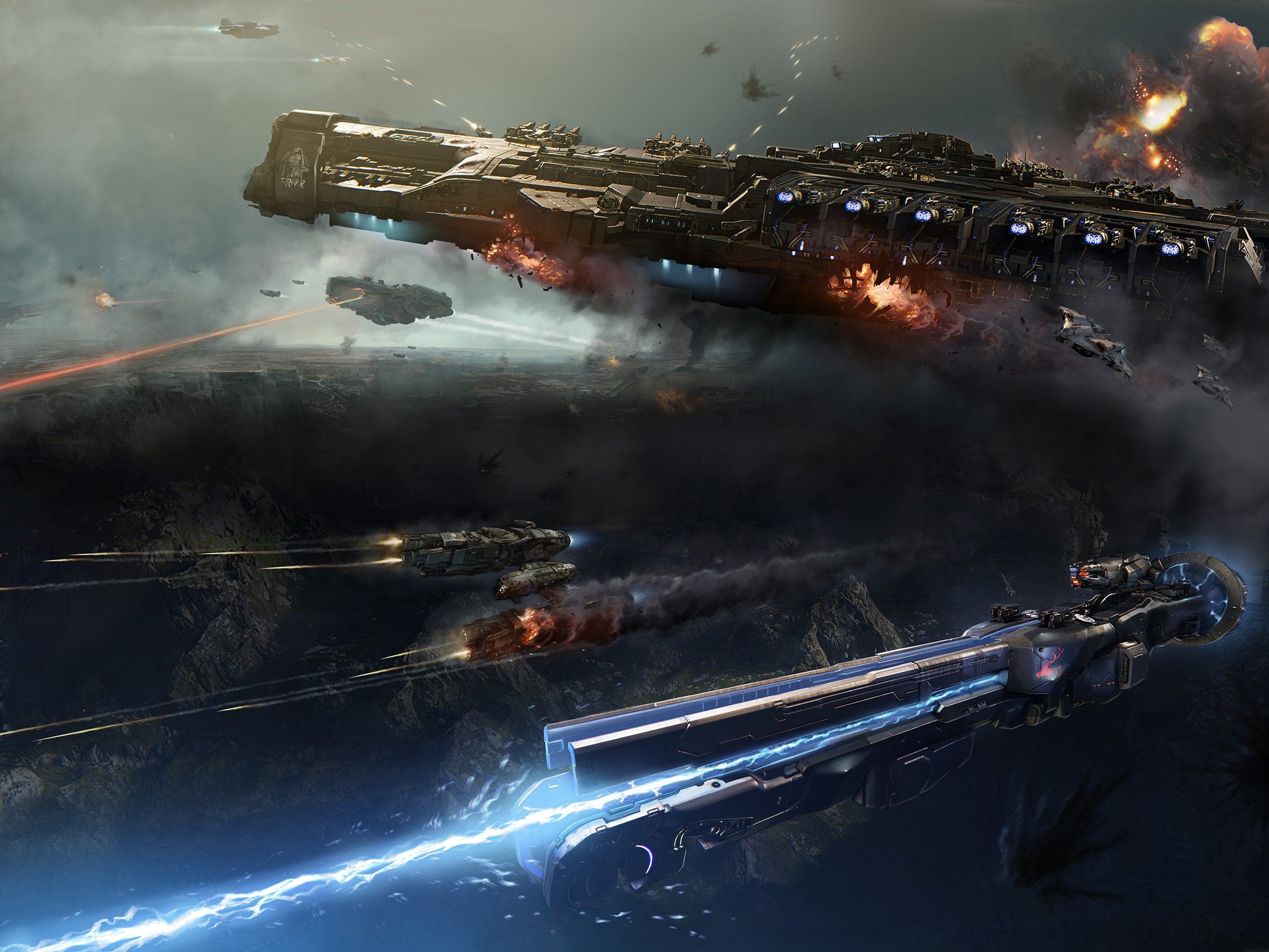science fiction space battle futuristic dreadnought hd