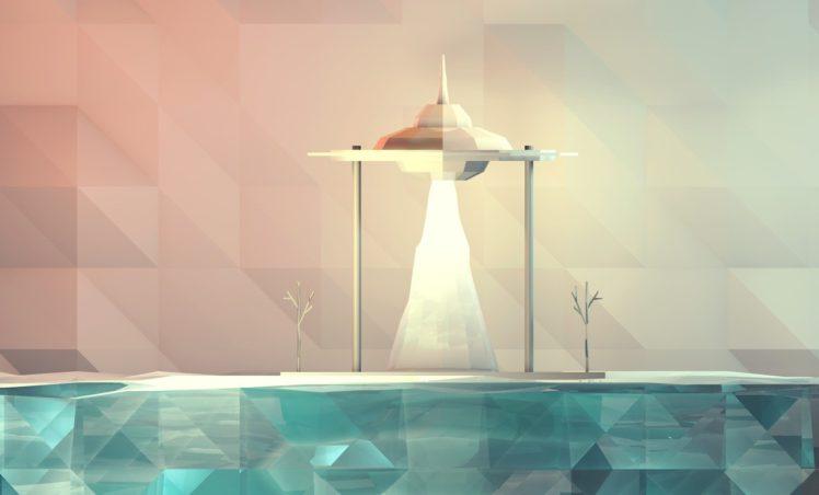 abstract, Pixelated, Digital art, Artwork, Minimalism, Low poly, Space shuttle, UFO, Water HD Wallpaper Desktop Background