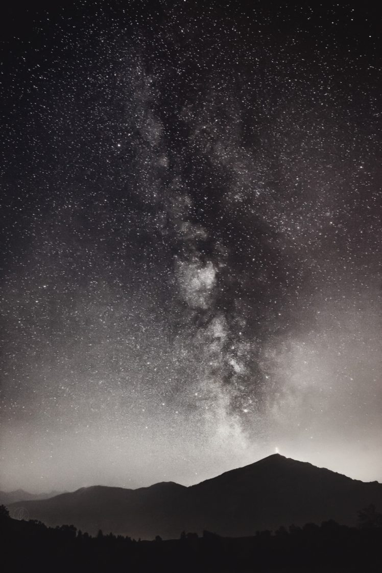 nature, Stars, Space, Monochrome, Milky Way, Space art HD Wallpaper Desktop Background