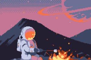 astronaut, Pixelated, Pixel art, Pixels, 8 bit, Space, Spacesuit, Helmet, Fire, Hills, Planet, Campfire, Stars, Universe