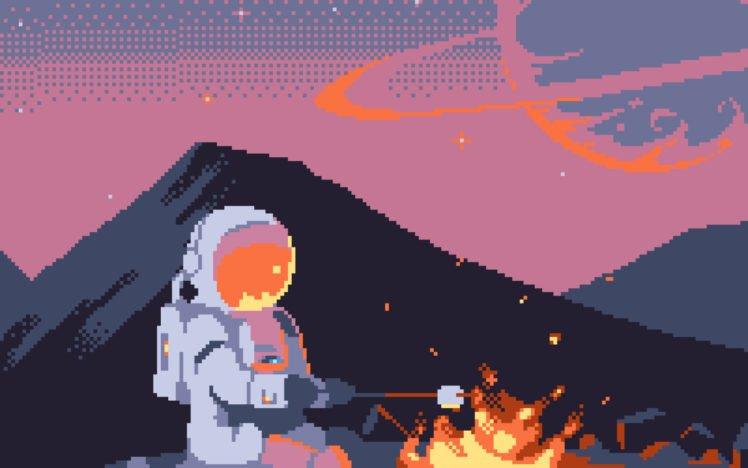 astronaut, Pixelated, Pixel art, Pixels, 8 bit, Space, Spacesuit, Helmet, Fire, Hills, Planet, Campfire, Stars, Universe HD Wallpaper Desktop Background
