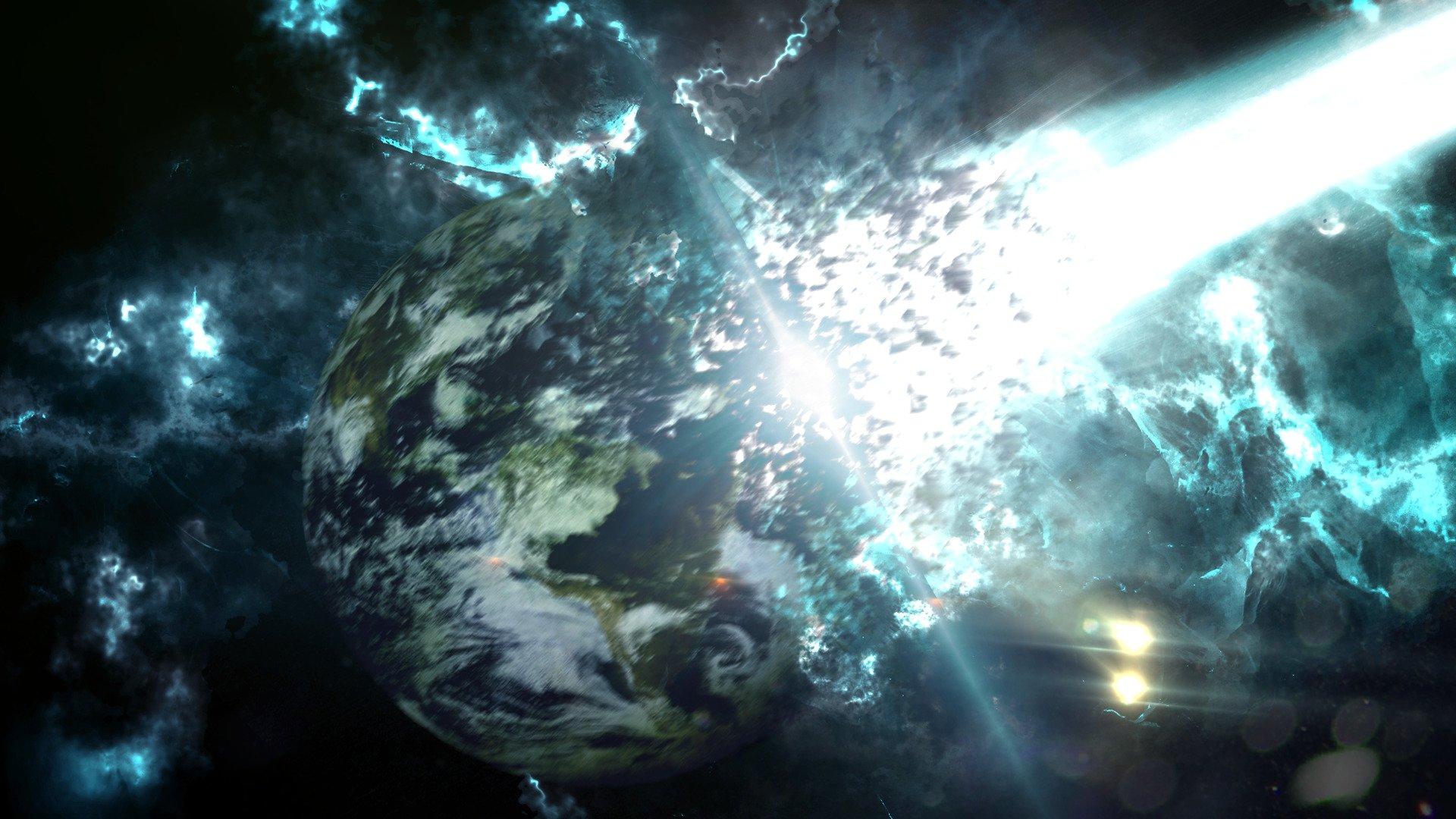 Earth Digital Art Hd Wallpaper: Space, Meteors, Earth, Apocalyptic, Destruction, Science