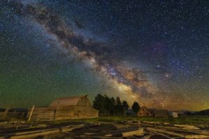 barn, Space art, Stars, Milky Way