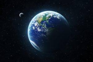 space, Earth, Stars, Moon