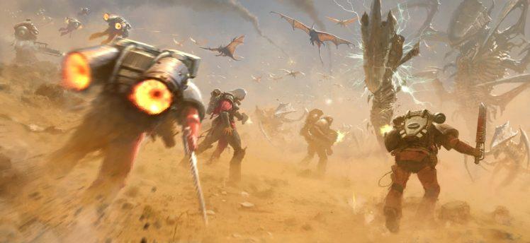 space marines, Warhammer 40, 000, Science fiction, Space art, Fantasy art HD Wallpaper Desktop Background