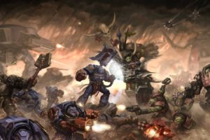 battle, Warhammer 40, 000, Ork, Space marines, Mech