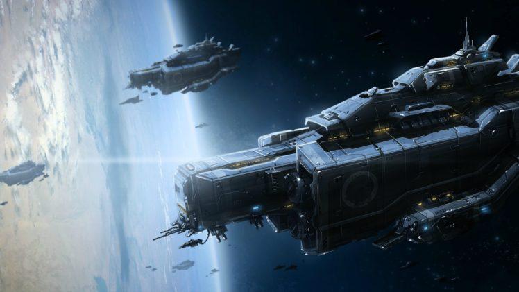 science fiction, Spaceship, Space, Stars HD Wallpaper Desktop Background