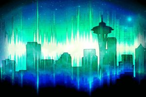 Seattle, Cityscape, Skyline, Blue, Green, Stars, Space Needle