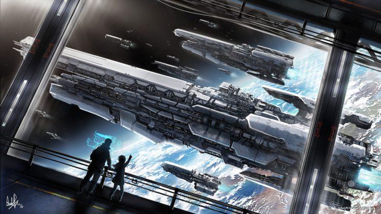 futuristic, Space, Planet, Spaceship HD Wallpaper Desktop Background