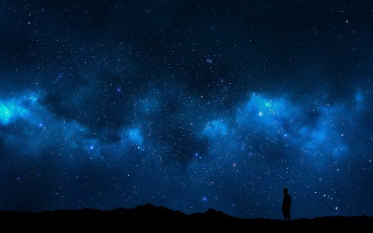 sky, Alone, Nature, Night, Space, Landscape, Space art, Digital art HD Wallpaper Desktop Background
