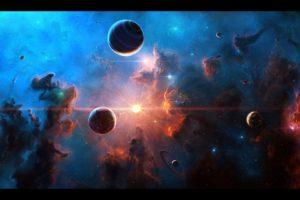 space, Planet, Nebula, Stars, Space art, Moon