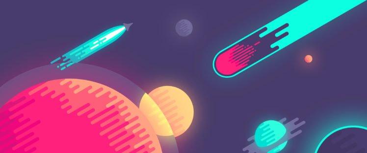 abstract, Digital art, Planet, Rocket, Space art HD Wallpaper Desktop Background