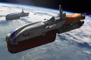 spaceship, Fedex, Space