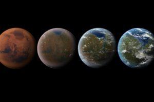 digital art, Space art, Planet, Space, Mars, Transformation, Texture, Black background, Atmosphere, Life, Imagination, Terraform