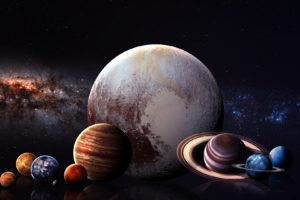 digital art, Space art, Planet, Space, Stars, Solar System, Milky Way, Mercury, Venus, Earth, Mars, Jupiter, Saturn, Uranus, Neptune, Pluto, Moon, Reflection