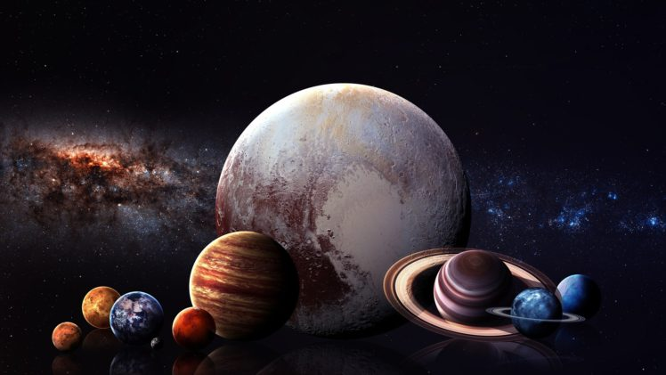 digital art, Space art, Planet, Space, Stars, Solar System, Milky Way, Mercury, Venus, Earth, Mars, Jupiter, Saturn, Uranus, Neptune, Pluto, Moon, Reflection HD Wallpaper Desktop Background
