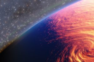 digital art, Space art, Planet, Space, Hurricane, Tornado, Stars, Fire