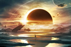 landscape, Space, Planet, Science fiction, Artwork, Space art