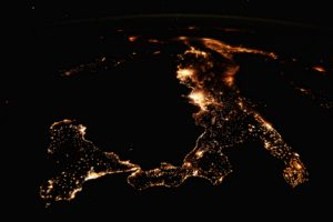 nature, Landscape, Aerial view, Water, Sea, Italy, Sicily, Lights, Night, ISS, International Space Station, Island, Europe