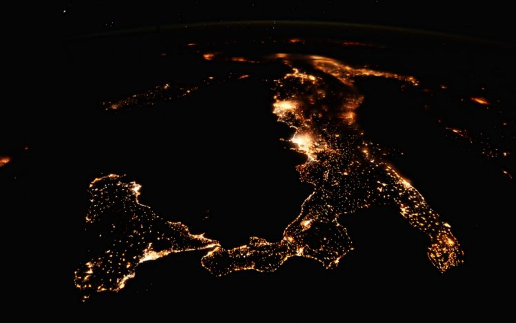 nature, Landscape, Aerial view, Water, Sea, Italy, Sicily, Lights, Night, ISS, International Space Station, Island, Europe HD Wallpaper Desktop Background