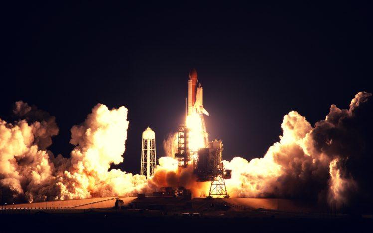 Rocket Launch Space Spaceship Night NASA HD Wallpaper Desktop Background