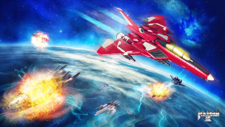 Raiden III, Ship, Spaceship, Space, Planet, War, Jet fighter, Video games HD Wallpaper Desktop Background