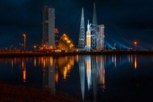 rocket, Launch, Space, Lake, Water, Reflection, NASA