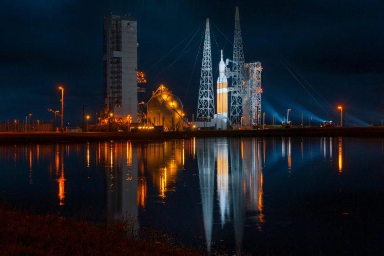 Rocket Launch Space Lake Water Reflection NASA HD Wallpaper Desktop
