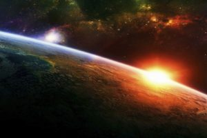 space, Planet, Sun, Stars