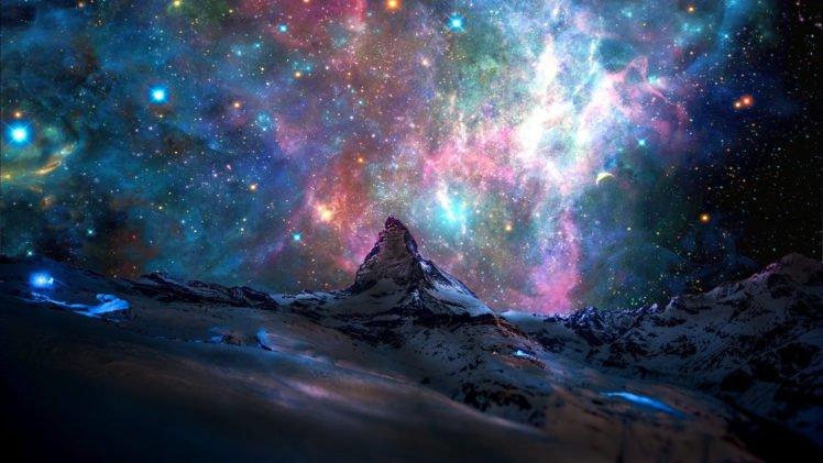 mountains, Snow, Snowy peak, Space, Matterhorn HD Wallpaper Desktop Background
