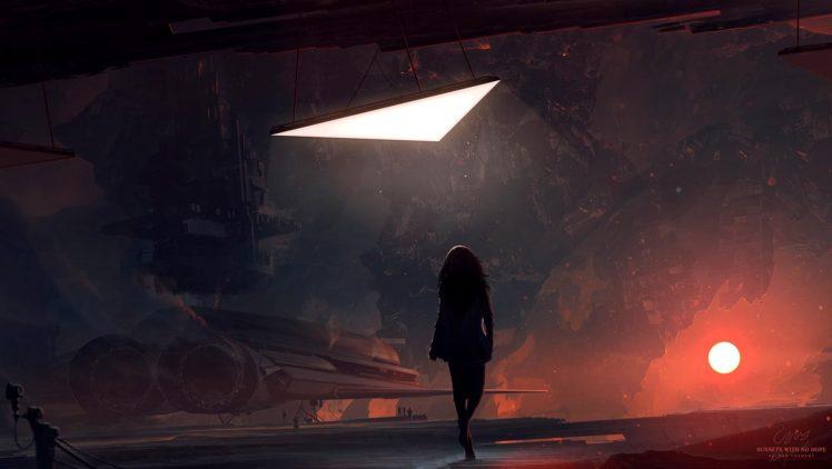 Kuldar Leement, Science fiction, Space, Spaceship, Sun HD Wallpaper Desktop Background