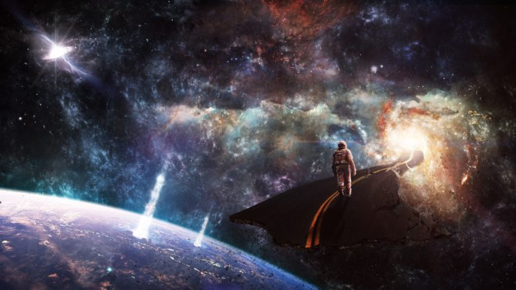 astronaut, Space, Planet, Spiral galaxy, Galaxy, Explosion, Wormholes, Road HD Wallpaper Desktop Background