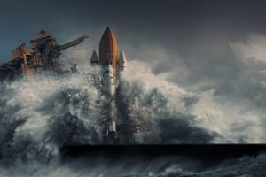 nature, Photography, Landscape, Apocalyptic, Digital art, Sea, Storm, Cape Canaveral, Space shuttle, Discovery