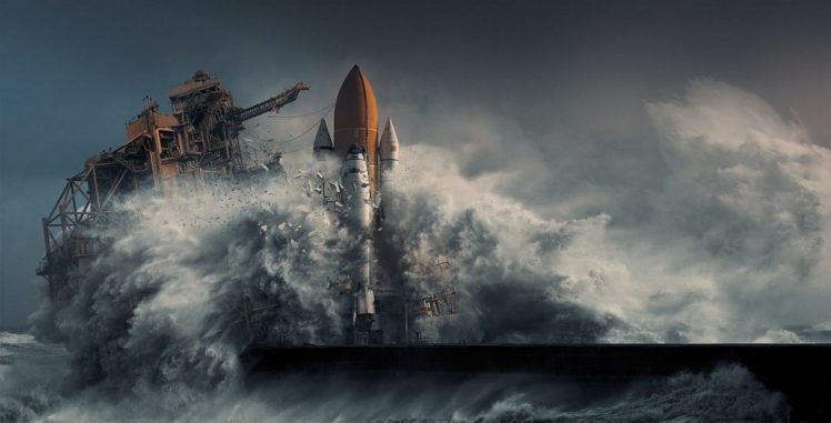 nature, Photography, Landscape, Apocalyptic, Digital art, Sea, Storm, Cape Canaveral, Space shuttle, Discovery HD Wallpaper Desktop Background